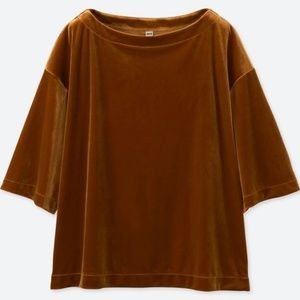 UNIQLO NWT Gold / Burnt Yellow Velour Pullover Top